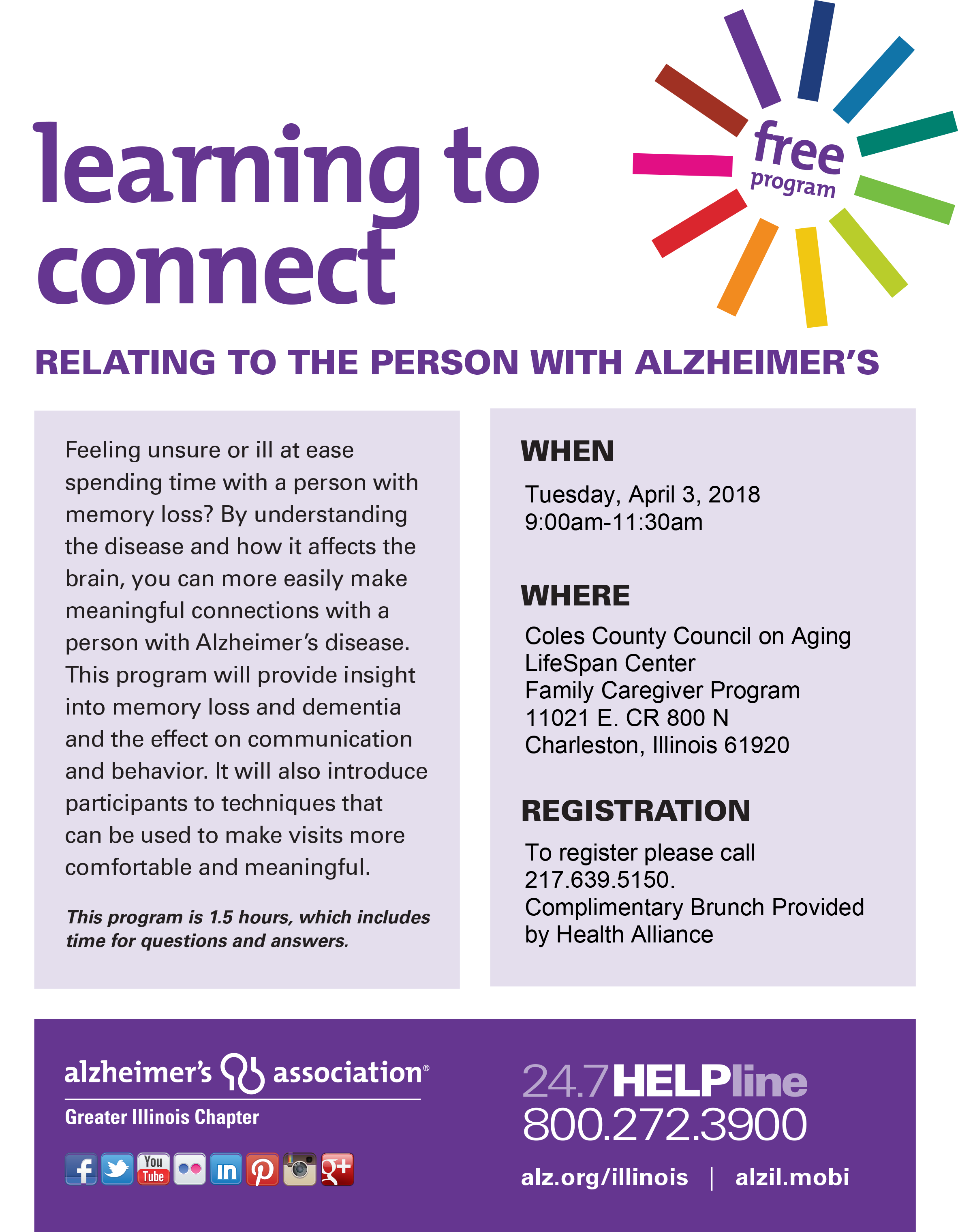 Learning to Connect @ Coles County Council on Aging, LifeSpan Center, Family Caregiver Program  | Charleston | Illinois | United States