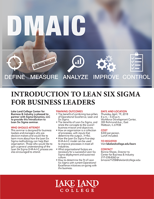 Introduction to Lean Six Sigma For Business Leaders Seminar @ Workforce Development Center | Mattoon | Illinois | United States
