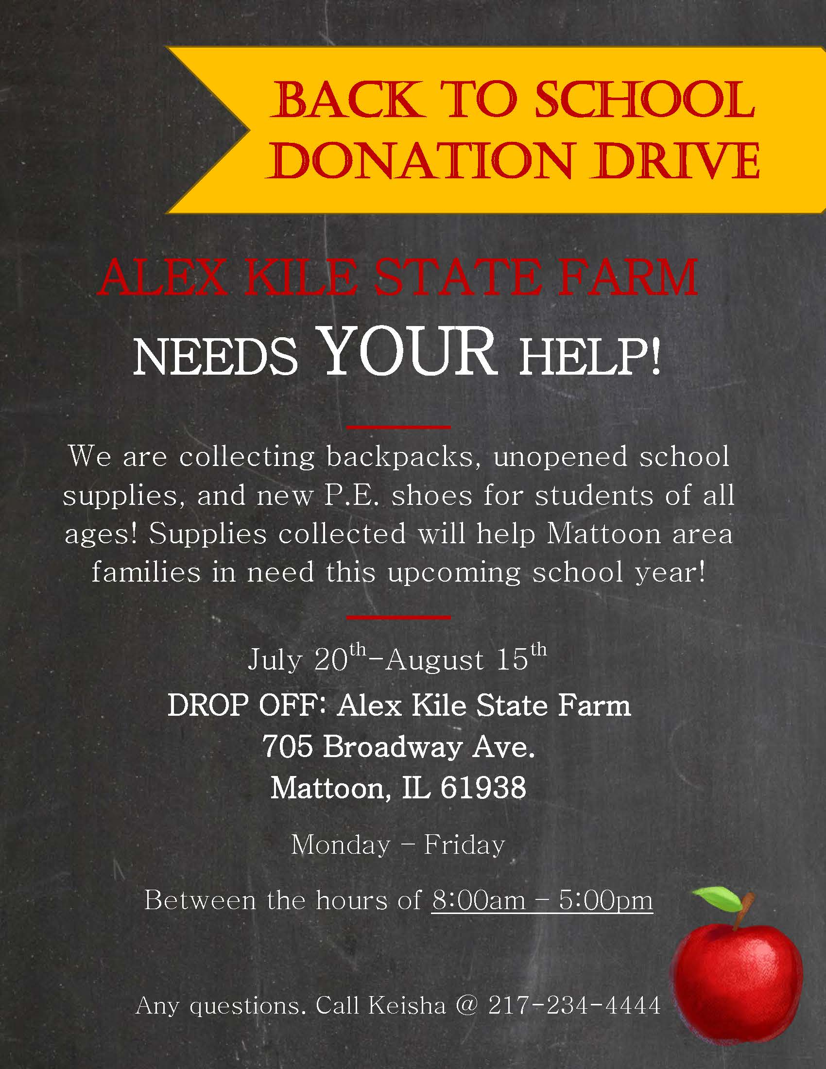 Back to School Donation Drive @ Alex Kile State Farm | Mattoon | Illinois | United States
