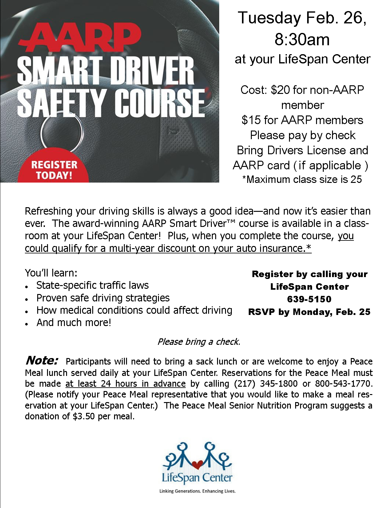 AARP Smart Driver Safety Course @ LifeSpan Center