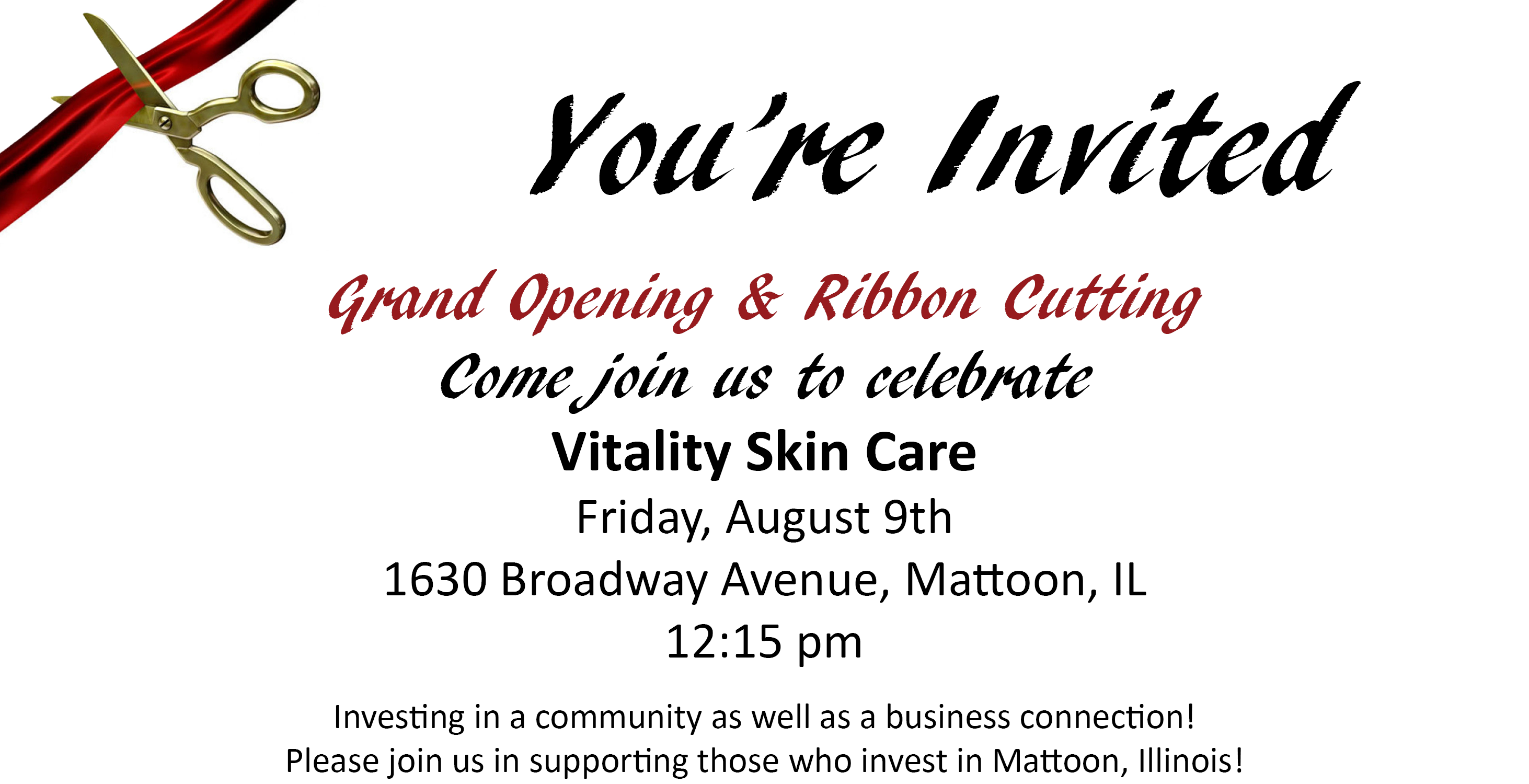 Grand Opening & Ribbon Cutting @ Vitality Skin Care