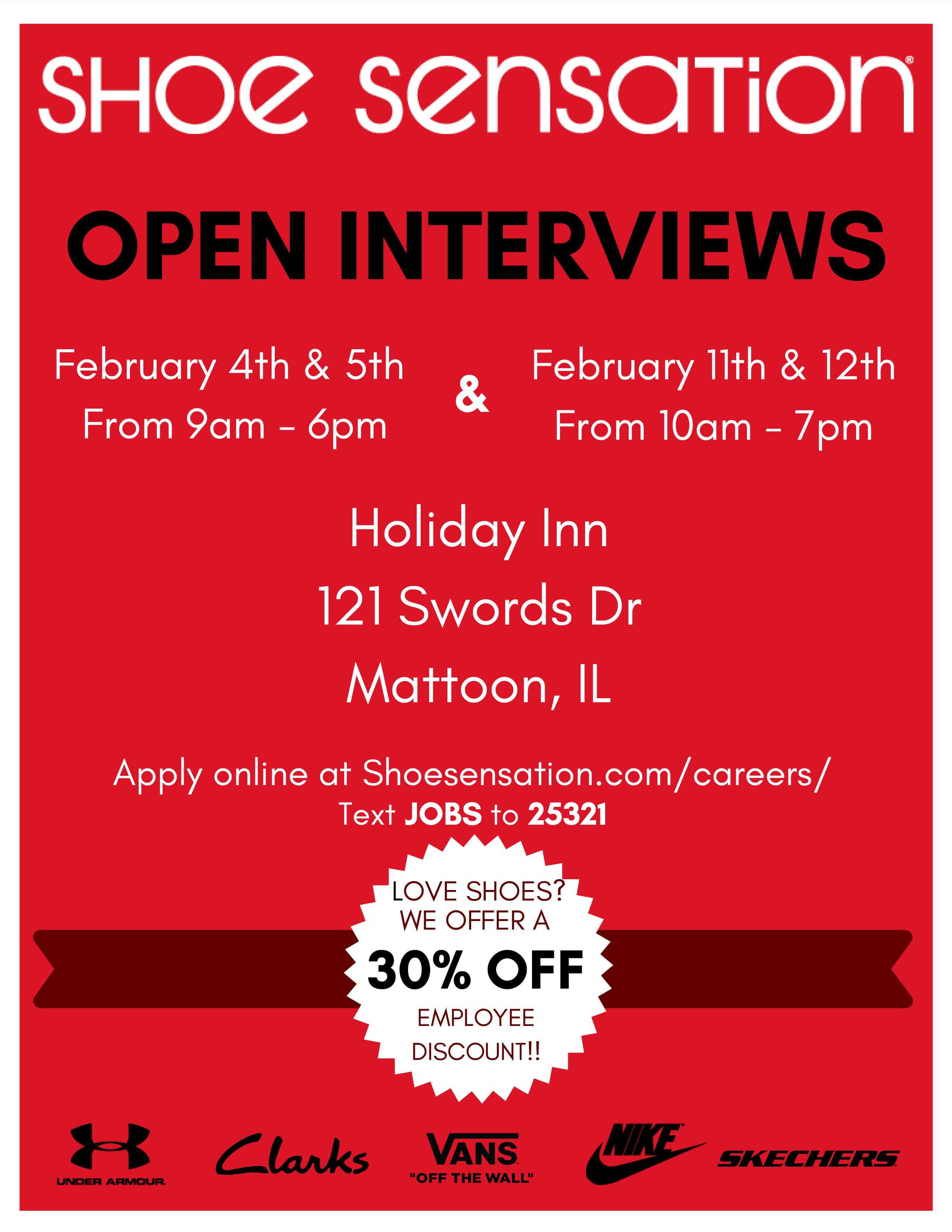 Shoe Sensation Open Interviews @ Holiday Inn