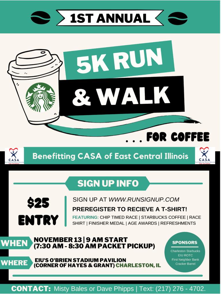 1st Annual 5K Run & Walk for Coffee @ EIU's O'Brien Stadium Pavilion